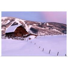Poster Print Wall Art entitled Steamboat Springs, CO, Barn in winter