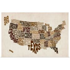 Poster Print Wall Art entitled United States Typography Text Map