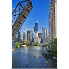 Poster Print Wall Art entitled Kayakers on Chicago River, Chicago, Illinois