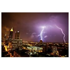 Poster Print Wall Art entitled Lightning Storm over Atlanta, Georgia