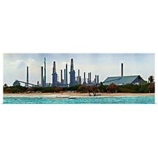 Poster Print Wall Art entitled Oil refinery at the coast, Valero Oil Refinery,
