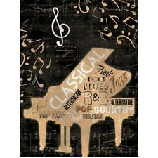 Poster Print Wall Art entitled Music Notes, Piano Black