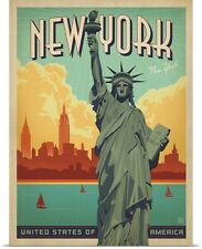 Poster Print Wall Art entitled New York Statue of Liberty, Travel Poster