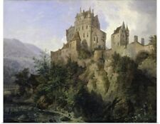 Poster Print Wall Art entitled Eltz Castle by Domenico Quaglio