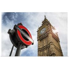 Poster Print Wall Art entitled Underground Sign with Big Ben, London