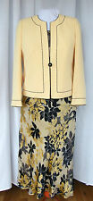 "JACQUES VERT MONACO RANGE ""MIMOSA"" LEMON/NAVY SILK DEVORE SKIRT/TOP/JACKET N1D"