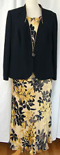 JACQUES VERT MONACO MIMOSA LEMON/NAVY SILK DEVORE SKIRT & TOP NAVYJACKET N1D