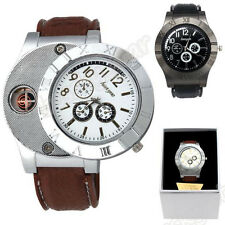 Men Windproof Casual Military Quartz Watch USB Cigarette Cigar Flameless Lighter
