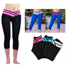 Nice Vogue Sport Yoga Athletic Gym Workout Fitness Waistband Capri Leggings Pant