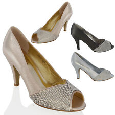 LADIES LOW HEEL DIAMANTE PEEP TOE WOMENS SPARKLY PARTY PROM WEDDING BRIDAL SHOES