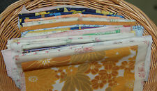 SELECTION OF VINTAGE RETRO FABRIC REMNANTS MATERIAL PATCHWORK  BUNTING APPLIQUE