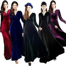 Vintage Ladies Long Sleeve Winter Party Evening Cocktail Prom Velvet Maxi Dress