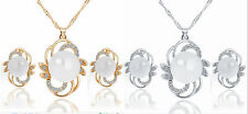 Fashion Jewelry Set Crystal Pearl Silver Plated Flower Pendant Necklace Earrings