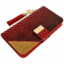 Womens Leather Flip Wallet Purse Case Credit Card Holder RED Smartphone Samsung