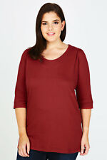 Plus Terracota Scoop Neckline T-shirt With 3/4 Sleeves   Size 14-36
