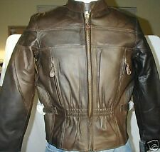 Womens Brown Premium Napa Leather Motorcycle biker Jacket $229 Zip out Lining