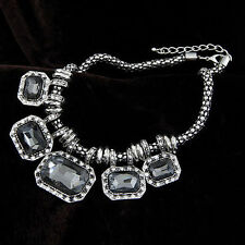New Fashion Crystal Rhinestone Geometry Bib Collar Choker Statement Necklace