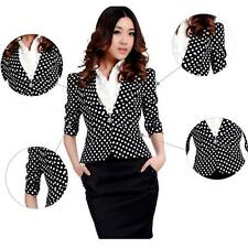 NEW Korean Womens Business Short blazer suit jacket One button Polka dots Coat