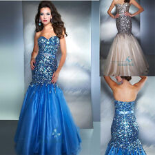 Sequins Mermaid Evening Dress Prom Formal Long Bridal Gowns Cocktail Party Gowns