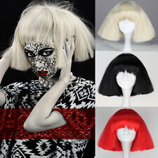 Short Lady Gaga Style Wig Synthetic Women Fashion Party wig Black Red Blonde
