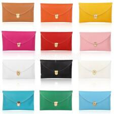 Ladies Large Leather Style Envelope Clutch Bag Women's Wedding Purse Chain Long