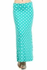 MGTL- Polka Dot Acqua Boho Chic Summer Long Maxi Skirt-Size 1X,  2X, 3X