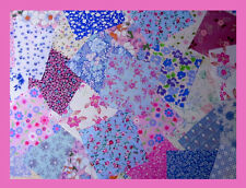 FLORAL fabric PINK and BLUE patchwork squares 4 x 4 ins (10cms) 25 or 50 packs