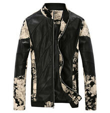 mens fashion leather mixed color slim stand collar zipper coats casual jackets