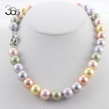 """Round Shell Pearl Beads 12mm Gold Plated Clasp Jewelry Necklace Strand 18"""""""