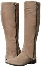 JESSICA SIMPSON RHEILA SLATER TAUPE LEATHER SUEDE CUFF METAL SIDE ZIP KNEE BOOTS
