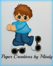 Craftecafe Mindy Rollerskating party boy premade paper piecing for scrapbook