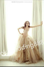 Layer A-line Tulle Wedding Dress Bridal Gown Proms Ball Pageant Party Champagne