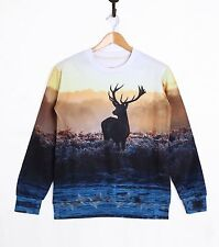 New Mens Womens 3D Deer Print Long Sleeve T-Shirt Fashion Sweatshirts Top Tee