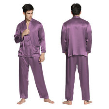 2pcs Men Pajamas Set 100% Mulberry Silk 22mm Exotic Buttoned Sleepwear Homewear
