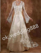 Vintage Long Sleeve Lace Wedding Jacket Cloak Bridal Wraps Jackets Custom Made