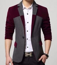 mens mixed color one button slim lapel collar blazers coats casual jackets C947