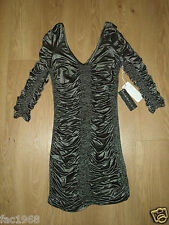 Forever Unique Party Mini Stretch Bodycon Dress Ruched Silver Black UK 8 10 12