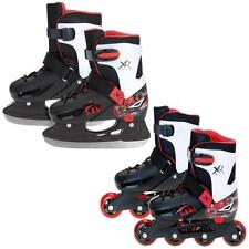 XQ MAX 2in1 BOYS INLINE ROLLER SKATES ICE SKATING BOOTS ADJUSTABLE SHOES BLADES