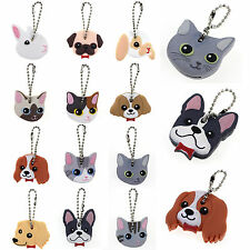 Fad Cute Puppy Pug Cat Rabbit Key Cover Cap Keychain Key Ring PVC Unisex Gift