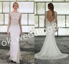 Lace mermaid Wedding Dress 2016 Sexy Backless Beach Long Sleeve Bridal Gown New