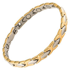Magnetic Therapy Bracelet Stainless Steel Many High Power Magnets 2 Tone XOXO