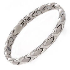 Magnetic Therapy Bracelet Stainless Steel Many High Power Magnets Silver XOXO