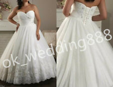 Plus size A-Line White Ivory Wedding Dress Bridal Gowns Custom Size 18 20 22 24