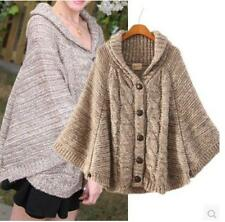 Women's European Style Knit Thicken cardigan sweater Batwing Cape poncho Outwear