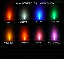 USA*20-40x 10mm Ultrabright DIFFUSED LED Red White Blue Green Y O Pink UV-Purple