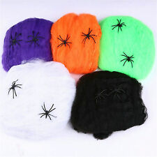 Spider Web Halloween Props Home Party Bar Decoration Stretchy Cobweb Spider