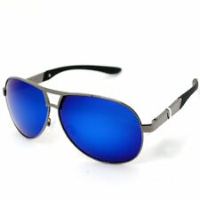 DREAMVIVA Anti-Glare Polarized Gun Frame Blue Lens Men Sunglasses Aviator