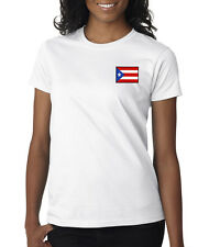 Puerto Rico Rican Flag Country Pride Logo Embroidered Ladies T-Shirt S-2XL