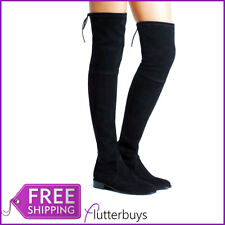 Womens Black OVER THE KNEE Flat Tie Top Boots Stretch  block Flat  Heel New UK