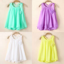 Vogue Toddler Baby Sweet Party Sundress Kids Girls Chiffon Vest Tutu Dress Tops
